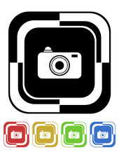 Camera button mosaic retro colors square