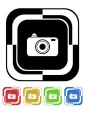 Camera button mosaic retro colors square