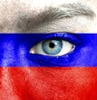 Human face painted with flag of Russia