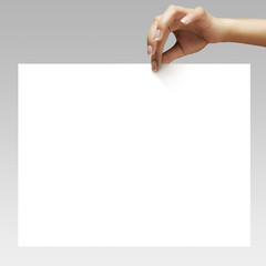 woman hand holdin the blank paper