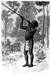 South American Indian : Hunting with Blowpipe - Sarbacane