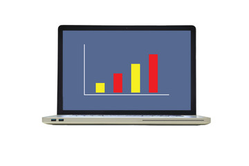 laptop with growth bar chart