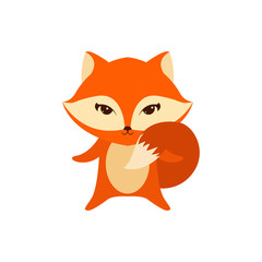 Flat vector cartoon illustration of cute fox