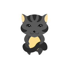 Flat vector cartoon illustration of cute cat