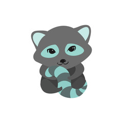 Flat vector illustration of cute racoon with striped tale