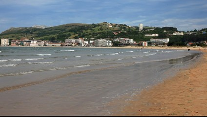 Beautiful Atlantic ocean beach in Laredo. Cantabria, Spain