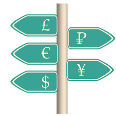 currency road sign