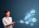 Pretty lady typing on smartphone with cloud computing