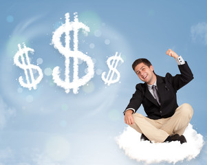 Attractive man sitting on cloud next to cloud dollar signs
