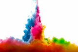 Raoinbow of Acrylic Ink in Water. Color Explosion