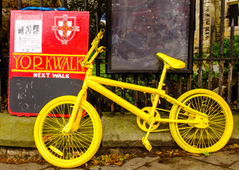 One of many yellow bikes in York for the 101st Tour De France.
