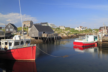 Peggy's Cove village and fisherman boats, Nova Scotia, Canada