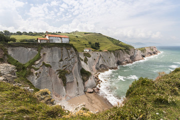 Cliff in coast basque in San Telmo hermitage, Zumaia, Spain
