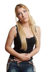 hübsches Mädchen hat Verdauungsprobleme