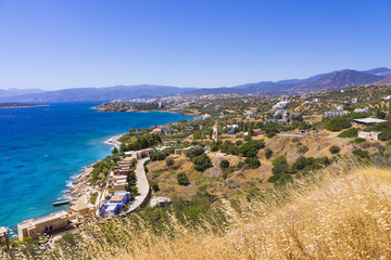 Mirabello bay and Agios Nikolaos view in Crete island, Greece