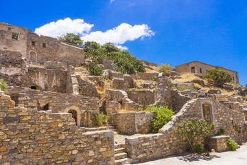 Old ruins in Spinalonga island, Crete, Greece
