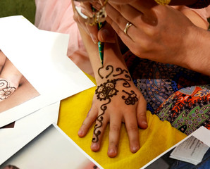 Henna decoration on woman's hand