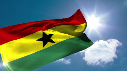 Ghana national flag blowing in the breeze