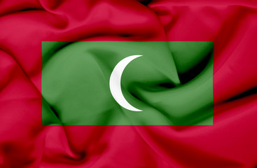 Maldives waving flag