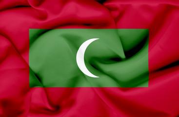 Maldives waving flag
