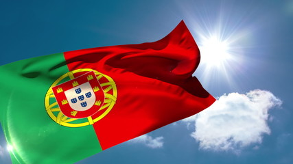Portugese national flag blowing in the breeze
