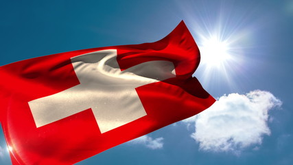 Swiss national flag blowing in the breeze