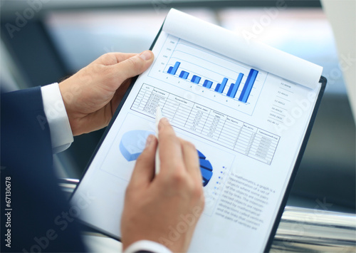 Leinwandbild Motiv Stock market graphs monitoring