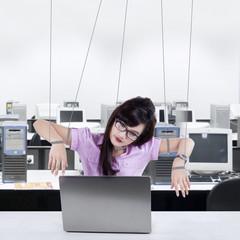 businesswoman working like a slave