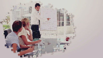 Business montage with meetings and presentations