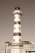 Malmo lighthouse. Sepia tone filtered image.
