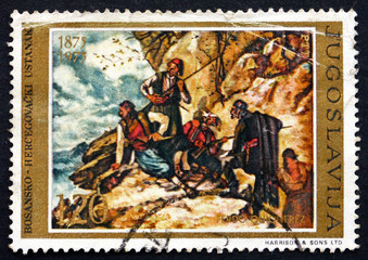 Postage stamp Yugoslavia 1975 Ambush, by Ferdo Quiquerez