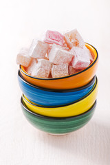 Bowl with diced Turkish delight