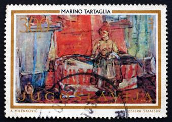 Postage stamp Yugoslavia 1973 Room with Slovak Woman