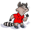 Cartoon raccoon in red shirt waving friendly.