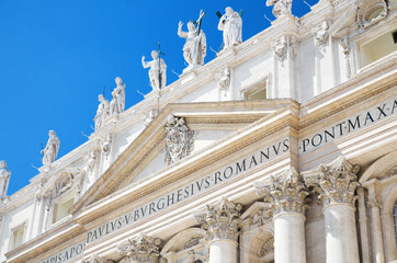 facade of the Basilica of Saint Peter, in Vatican City, Italy