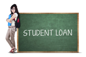 Female student and student loan text 1