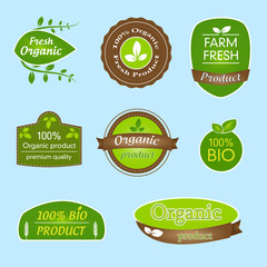Set of labels for organic foods and products