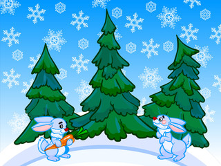 The cartoon coniferous forest with two rabbits.