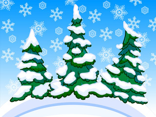 Cartoon image of three snowy conifers with snowflakes