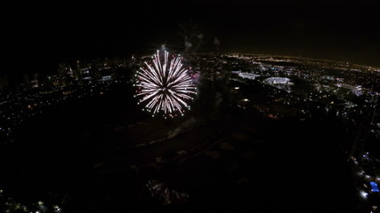 Fireworks 4th of July aerial video drone
