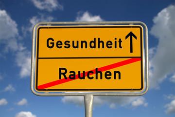 Deutsches Ortsschild Rauchen Gesundheit