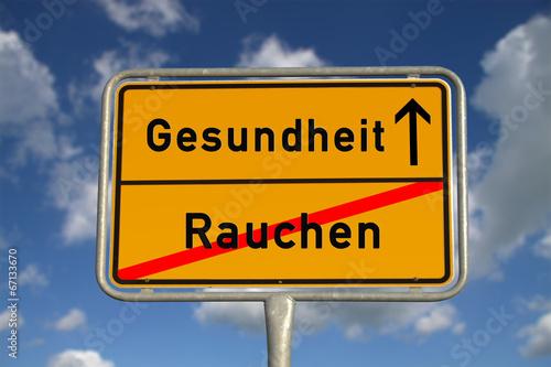 canvas print picture Deutsches Ortsschild Rauchen Gesundheit