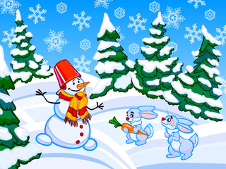The cartoon coniferous snowy forest with a snowman and two rabbi