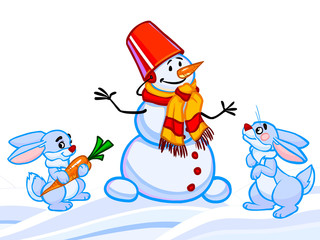 The cartoon illustration of a snowman and two rabbits and snowfl