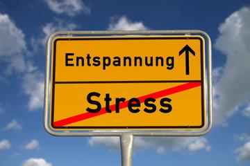 Deutsches Ortsschild Stress Entspannung