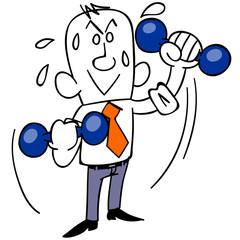 ダンベルで体を鍛えるビジネスマン