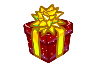 The illustration of a red present box.