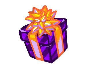The illustration of a purple present box.