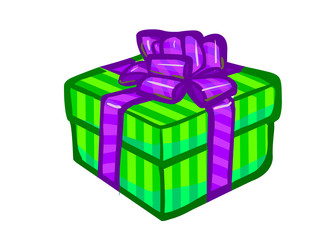 The illustration of a green present box.