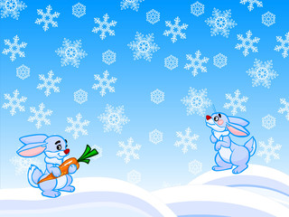 The winter cartoon illustration of two rabbits and snowflakes.